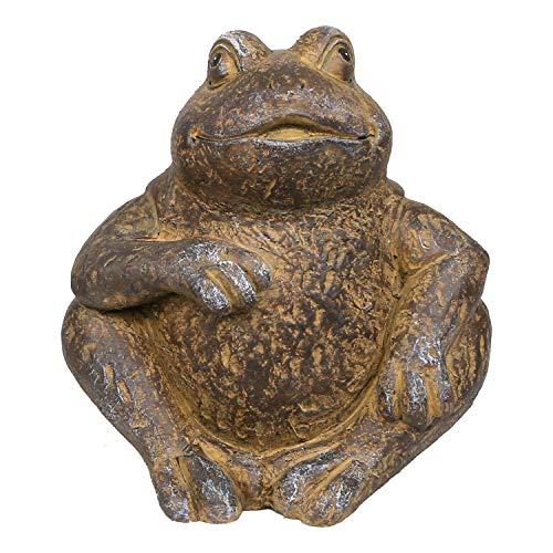 Alpine Corporation WGG426HH Alpine Made of Rustic Stone Frog Statue, Brown