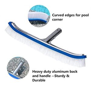 """Lalapool Swimming Pool Wall & Tile Brush,18"""" Polished Aluminum Back Cleaning Brush Head Designed for Cleans Walls, Tiles & Floors, Nylon Bristles Pool Brush Head with EZ Clips (Pole not Included)"""