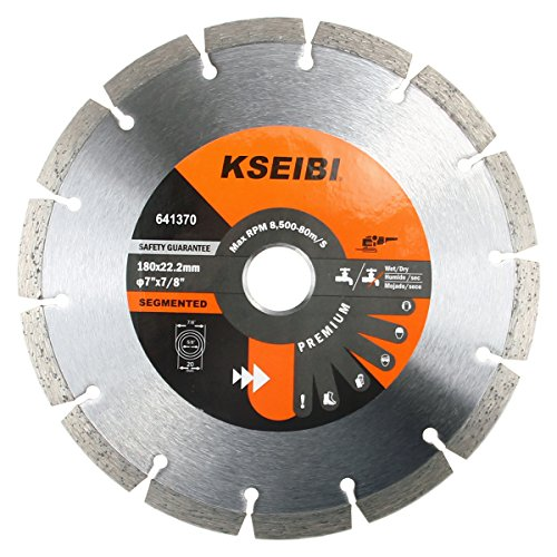 KSEIBI 641370 Premium 7 Inch Dry Wet Cutting Segmented Diamond Saw Blade with 7/8 Inch Arbor for Concrete Stone Brick Masonry