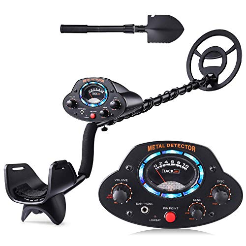"""TACKLIFE Metal Detector, Upgraded Adjustable Detectors (41""""-53"""") with DISC Mode, Pinpoint Function, LED Light, Sensitivity and Volume Controller for Adults and Kids - The Newest Version MMD04"""