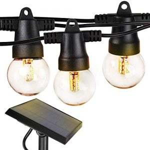 Brightech Ambience Pro - Waterproof Solar LED Outdoor String Lights – 1W Retro Edison Globe Bulbs - 27 Ft Bistro Lights Create Cafe Ambience In Your Yard, Pergola - Soft White