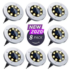 Flalivi Solar Ground Lights - 8 LED Solar Garden Lights Outdoor Waterproof Bright in-Ground Lights for Lawn Pathway Yard Driveway (8 Packs)