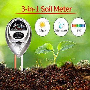 WINZOOM Soil Tester,Soil Moisture Meter,3-in-1 Soil Test Kit with Moisture,Light and PH Test (Silver)