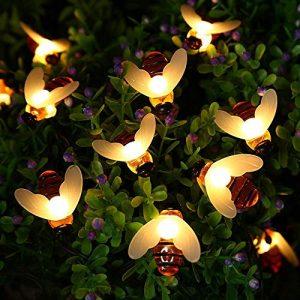 Joomer Honeybees Solar Garden Lights, 19.7ft 30 LED 8 Modes Solar String Lights Waterproof Fairy Lights for Patio, Lawn, Garden, Wedding, Party, Christmas Decorations [Warm White]