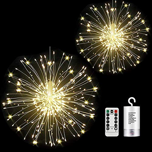 2 Pack Firework Lights led Copper Wire Starburst String Lights 8 Modes Battery Operated Fairy Lights with Remote,Wedding Decorative Hanging Lights for Party Patio Garden Bedroom Decoration (2, white)