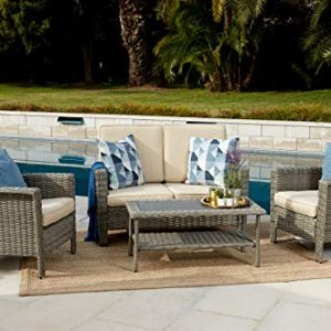 Quality Outdoor Living 65-517149B Milton All-Weather 4 Piece Deep Seating Set, Grey Wicker + Tan Cushions
