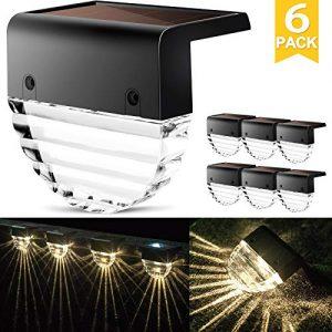 Solar Deck Lights, Outdoor Lighting Backyard Decor Outside Step Lights Garden Post Fence - 6 Pack