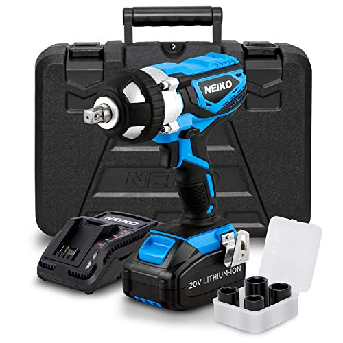 Neiko 10878A 20 V Lithium-Ion Cordless Impact Wrench with Li-Ion Battery, Fast Charger and Socket Adapters Set   1/2-Inch Square Drive