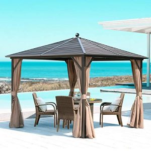 Mellcom 10' x 10' Aluminum Frame Hardtop Gazebo with Mosquito Netting and Curtains- Brown/Black