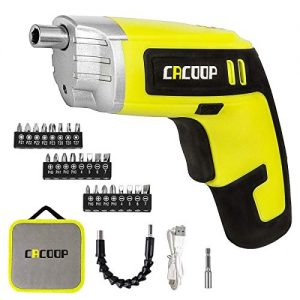 CACOOP Electric Cordless Screwdriver Rechargeable Set, 28 Piece 4V Battery Operated Power Screwdriver Gun Included 2pcs Bit Holders, 24pcs Bit, 1USB Charge Cable & Soft Carry Bag