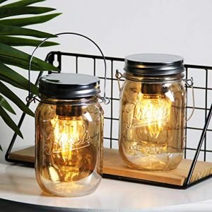 MJ PREMIER Set of 2 Mason Jar Lights Décor Battery Operated Hanging Lantern with Decorative Soft Dim Lighting Bulb for Power Outage Indoor Outdoor Decoration Table Centerpieces - Amber Metallic Glass
