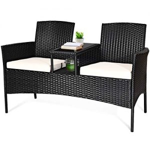 Tangkula Wicker Patio Conversation Furniture Set, Outdoor Furniture Set with Removable Cushions & Table, Tempered Glass Top, Modern Rattan Sofas Set for Garden Lawn Backyard (Black)