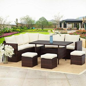 Wisteria Lane Patio Furniture Set,7 PCS Outdoor Conversation Set All Weather Wicker Sectional Sofa Couch Dining Table Chair with Ottoman,Ivory