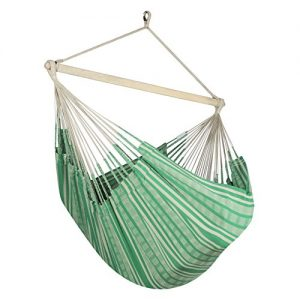 Jumbo Colombian Hammock Chair Lounger - 55 inch - Natural Cotton Cloth (Green and Beige)