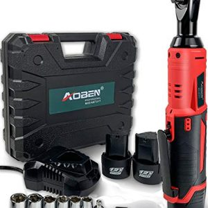 "Cordless Electric Ratchet Wrench Set, AOBEN 3/8"" 12V Power Ratchet Tool Kit with 2 Packs 2000mAh Lithium-Ion Battery and Charger"
