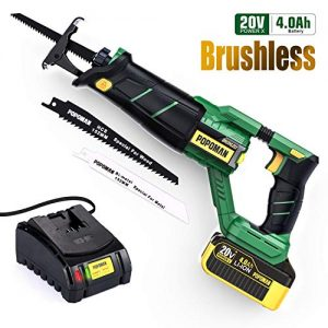 """Cordless Reciprocating Saw, POPOMAN Brushless 20V with 4.0A Lithium-Ion Battery, Fast Charger, 1-1/8""""(28mm) Stroke Length, 0-2500 SPM Variable Speed, 2 Blades for Metal&Wood, Christmas Tree -MTW200B"""