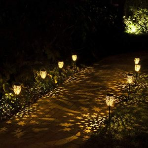 Walensee Garden Solar Lights Outdoor (Matte Black 2 Pack), Solar Powered Stake Lights, Waterproof LED Torch Lights, Decorative Metal Pathway Lights for Walkway, Pathway, Yard, Lawn, Patio