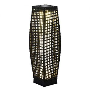 Grand Patio Outdoor Solar Powered Resin Wicker Floor Lamp, Weather-Resistant Deck Light, for Garden or Porch (Black)