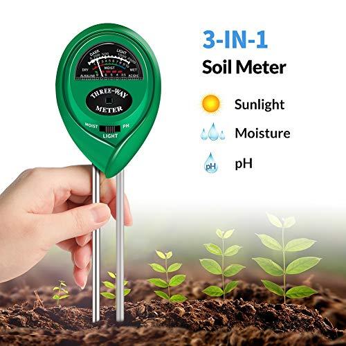 K KERNOWO pH Soil Meter, 3-in-1 Soil Testing Kit with Moisture, Light and PH Tester for Garden, Farm, Lawn, Indoor & Outdoor (No Battery Needed)