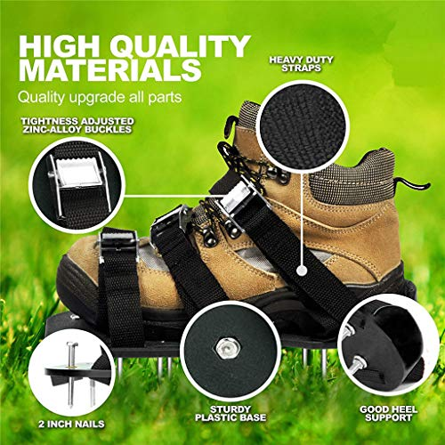 Lawn Aerator Shoes, Tuscom Lawn Aerator Sandal with 6 Adjustable Straps & Heavy Duty Metal Buckles, Inflatable for Your Lawn or Courtyard, Convenient Loose Earth Gardening Tools (Black)