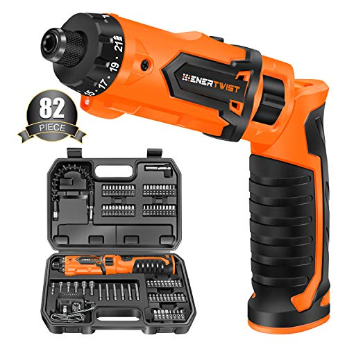 Enertwist Cordless Screwdriver, 8V Max Electric Screwdriver Rechargeable Set with 82 Accessory Kit and Charger in Carrying Case, 21+1 Cluth, 62 In.lbs Torque, Dual Position Handle, LED Light, ET-CS-8