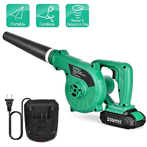 Cordless Leaf Blower - KIMO 20V Lithium 2-in-1 Sweeper/Vacuum 2.0 AH Battery