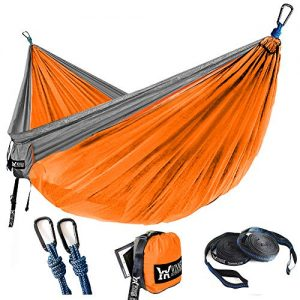 "WINNER OUTFITTERS Double Camping Hammock - Lightweight Nylon Portable Hammock, Best Parachute Double Hammock for Backpacking, Camping, Travel, Beach, Yard. 118""(L) x 78""(W) Grey/Orange"