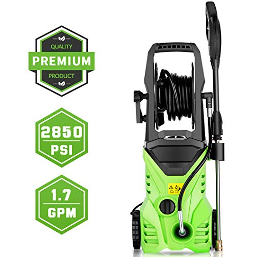 Homdox 2850 PSI Pressure Washer, Electric Pressure Washer, Power Washer, Professional Washer Cleaner Machine with 5 Interchangeable Nozzles, 1800W,1.70 GPM, Hose with Reel (Green)