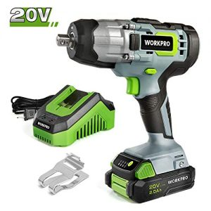 WORKPRO 20V Cordless Impact Wrench, 1/2-inch, 320 Ft Pounds Max Torque, 2.0Ah Li-ion Battery with Fast Charger, Belt Clip for Easy Carrying
