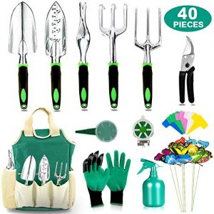 AOKIWO 40 PCS Garden Tools Set Heavy Duty Aluminum Manual Garden kit Outdoor Gardening Gifts Tools Set for Men Women