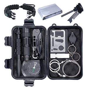 Emergency Survival Kit, 13 in 1 Outdoor Survival Gear, Lifesaving Tools with Military Compass, Saber Card, Whistle, for Travel Hike Field Camp,Father's Day, Boyfriend, Boy Scout's Best Gift