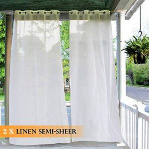 RYB HOME Outdoor Curtains Waterproof - 1 Pair White Semi-Sheer Outdoor Curtains Tab Top Drapes for Patio Door Pergola Christmas Decoration, 2 Ropes Includes, 54 inches Wide x 96 inches Long