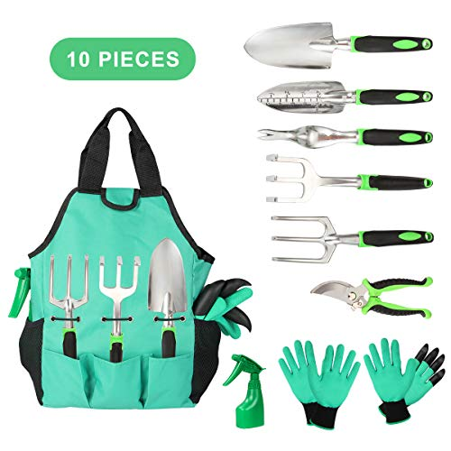 Aladom Known Vegetable Herb, Outdoor Gifts for Men Women Set 10 Pieces, Kit with Heavy Duty Aluminum Hand Tool and Digging Cla, Yellow