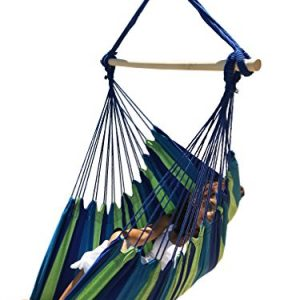 Hammock Sky Large Brazilian Hammock Chair Cotton Weave - Extra Long Bed - Hanging Chair for Yard, Bedroom, Porch, Indoor/Outdoor (Blue & Green)