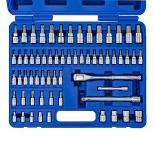 NEIKO 01146A Premium Master Combination Bit Socket Wrench Set, 62 Pieces | Dual Head Ratchet and Extensions | Torx | Hex | E-Torx | Screwdriver | S2 Steel Machined Bits | Chrome Vanadium Steel Sockets