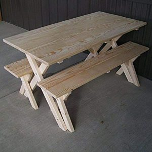 A & L Furniture Pine Cross Legged Picnic Table with Benches, Unfinished