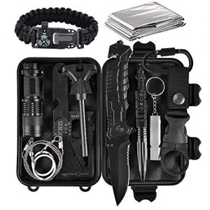 Lanqi Gifts for Men, Emergency Survival kit 14 in 1, Survival Gear, Tactical Survival Tool for Cars, Camping, Hiking, Hunting, Fishing (Survival kit 3)