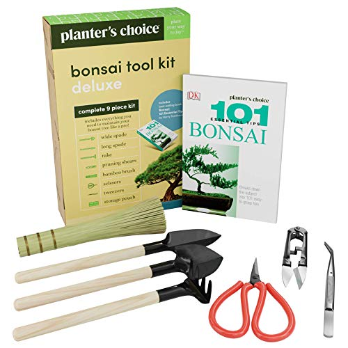 Premium Bonsai Tool Kit + Bonsai 101 Book - Set Includes: Wooden Rake, Long & Wide Spades, Scissors, Tweezers, Bamboo Brush, & Pruning Shears (Trimmer/Clipper) in Fabric Storage Holder - Bonsai Tools