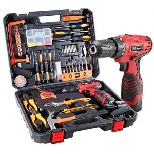 Dedeo Cordless Hammer Drill Tool Kit, 60Pcs Household Power Tools Drill Set with 16.8V Lithium Driver Claw Hammer Wrenches Pliers DIY Accessories Tool Kit