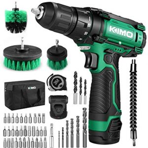 "Cordless Drill/Driver Kit, 48pcs Drill Set w/Lithium-Ion Battery Brushes Tape Measure - 12V Max Drill 280 In-lb Torque, 18+1 Metal Clutch, 3/8"" Keyless Chuck, Built-in LED - Wood Bricks Walls Metal"