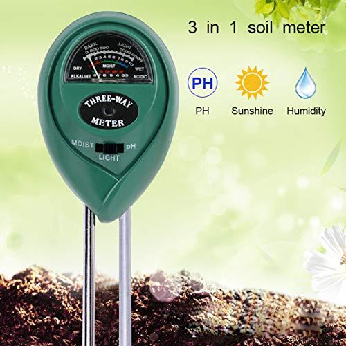 Soil pH Meter,Soil Tester Moisture Meter,3 in 1 Soil Test Kit Gardening Tools for PH, Light & Moisture,Plant Tester for Home,Farm,Garden,Indoor & Outdoor (No Battery Needed)