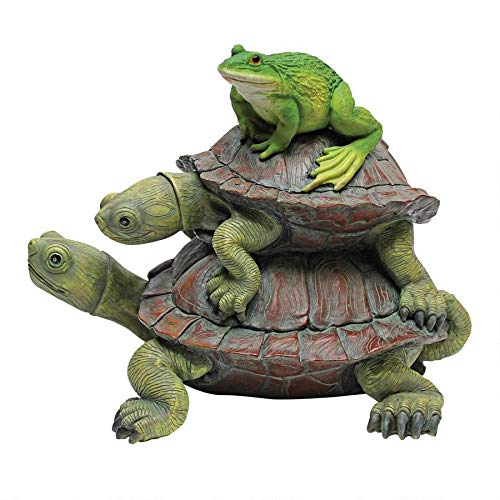 Design Toscano QM221531 In Good Company Frog and Turtles Garden Animal Statue, 11 Inch, Polyresin, Full Color,Multicolored
