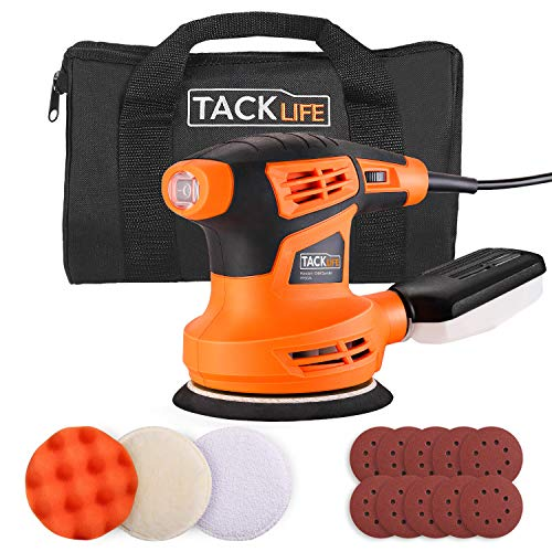 TACKLIFE 5-Inch Random Orbit Sander, 6 Variable Speeds Sander Machine, 10Pcs Sandpapers and 3 Pcs Polishing Kit, Electric Sander with a Carry Bag, Dust Collection Box for Sanding and Polishing PRS02A