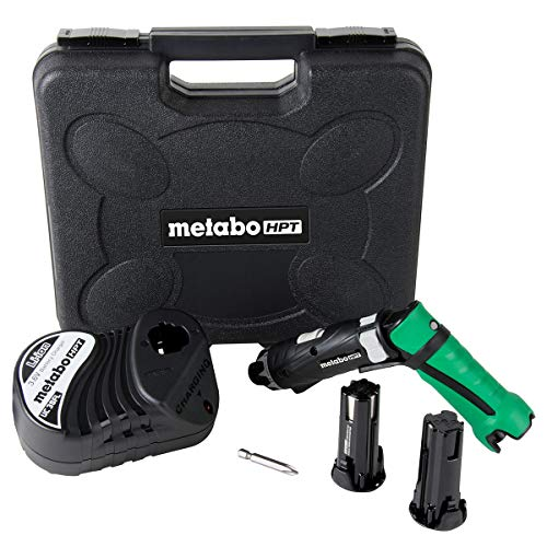 Metabo HPT Cordless Screwdriver Kit, 3.6V, Lithium Ion Batteries - 2, Dual Position Handle, LED Light, 21 Clutch Settings, Lifetime Tool Warranty (DB3DL2)