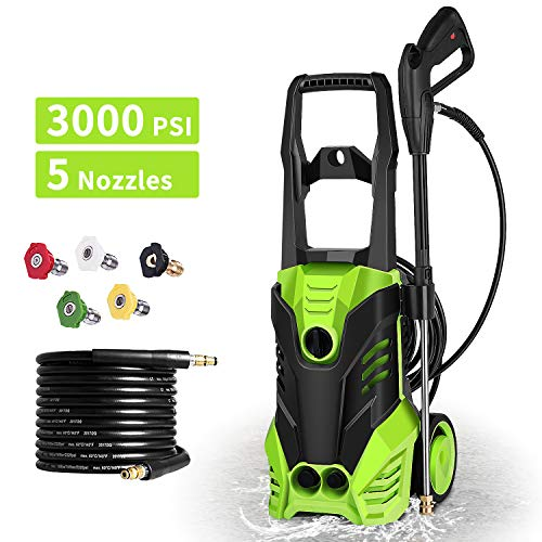 Homdox 3000 PSI Electric Pressure Washer 1800W High Pressure Power Washer Machine with Power Hose Gun Turbo Wand 5 Interchangeable Nozzles