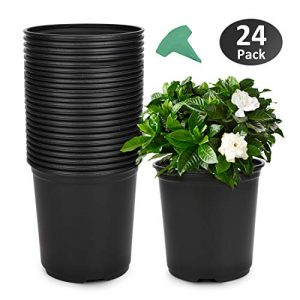 GROWNEER 24-Pack 0.7 Gallon Flexible Nursery Pot Flower Pots with 15 Pcs Plant Labels, Plastic Plant Container Perfect for Indoor Outdoor Plants, Seedlings, Vegetables, Succulents and Cuttings 2.5Qt