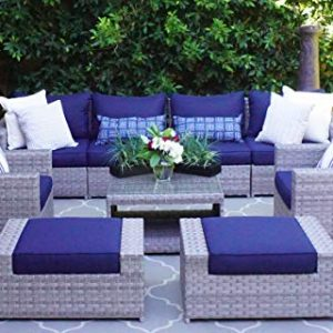 SunHaven Resin Wicker Outdoor Patio Furniture Set - Conversation Sectional Premium All Weather Gray Rattan Wicker, Aluminum Frame with Deluxe Fade Resistant Olefin Cushions (9 Pcs Conversation Set)