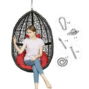 Greenstell Rattan Wicker Egg Hammock Chair with Hanging Kits,Weather Fastness Hanging Chair with Comfortable Red Cushion and Pillow,Basket Swing Chair for Indoor,Outdoor Bedroom,Patio,Garden (Black)