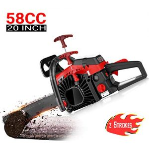 dessen 20 Inch Chainsaw 58CC Gas Powered Chain Saw, 2 Strokes 3.5HP Petrol Woodcutting Chain Saw with Tool Kit & Oil Tank