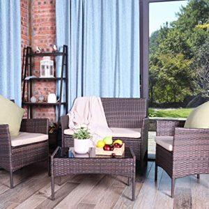 UFI 4 Pieces Outdoor Patio Furniture Sets, Rattan Wicker Chair Cafe Set, Use Outdoor Indoor Backyard Porch Garden Poolside Balcony RTA Furniture, Brown
